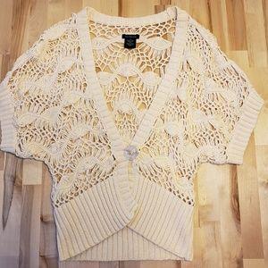 Calvin Klein Cream Crocheted Cardigan Sweater Sz M